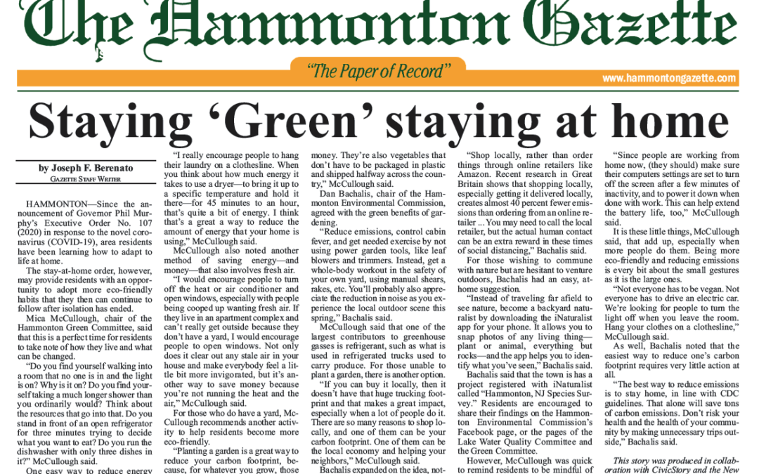 Staying 'Green' staying at home